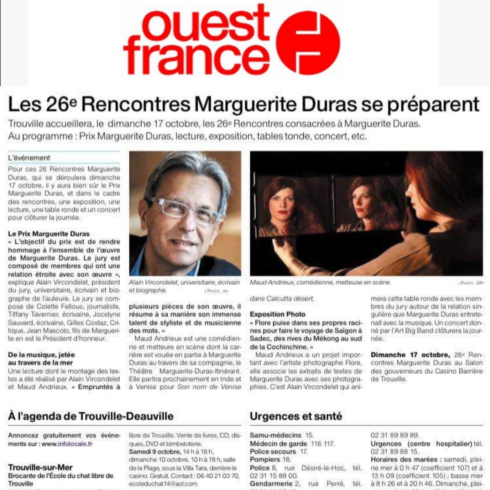 Maud Andrieux, Ouest-France, Rencontres Marguerite Duras, Alain Vircondelet, Judith Magre, Maud Andrieux, Jocelyne Sauvard, Tiffany Tavernier
