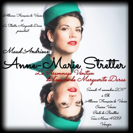 Maud Andrieux, durassienne, comédienne, metteur en scène, venise, venezia, alliance francaise venezia, anne-marie stretter, marguerite duras, theatre marguerite duras itinérant